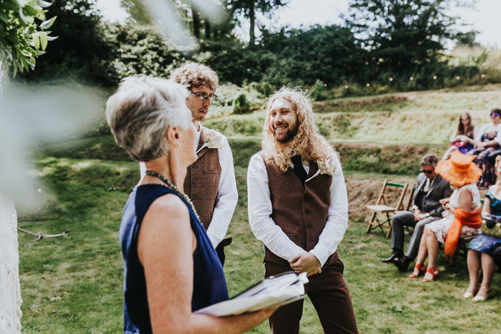Keeper and The Dell Boho Farm Field Marquee DIY Alternative Rustic Outdoor Ceremony Arch Macrame Groom Celebrant | Relaxed Outdoor Wedding with 1000 Rainbow Origami Cranes Dan Biggins Photography