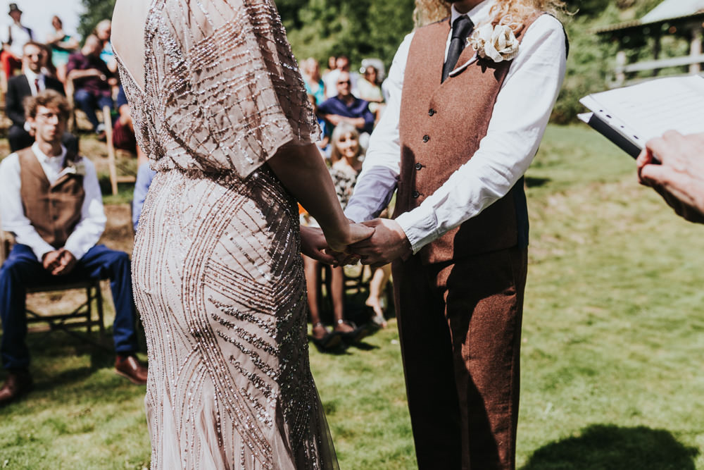 Keeper and The Dell Boho Farm Field Marquee DIY Alternative Rustic Outdoor Ceremony Macrame Ivy Bride Groom Apache Blessing paper Rose Buttonhole | Relaxed Outdoor Wedding with 1000 Rainbow Origami Cranes Dan Biggins Photography