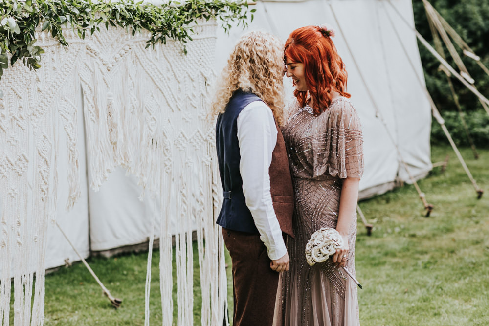 Keeper and The Dell Boho Farm Field Marquee DIY Alternative Rustic Outdoor Ceremony Macrame Ivy Bride Groom Apache Blessing Paper Rose Bouquet | Relaxed Outdoor Wedding with 1000 Rainbow Origami Cranes Dan Biggins Photography