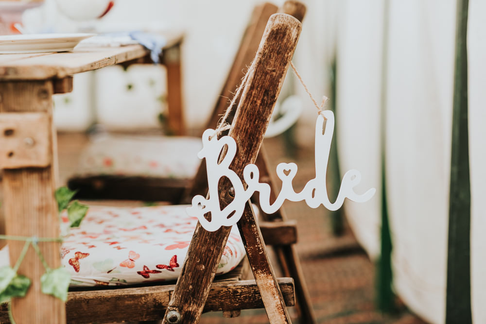 Keeper and The Dell Boho Farm Field Marquee DIY Alternative Rustic Reception Afternoon Tea Bride Wooden Chair | Relaxed Outdoor Wedding with 1000 Rainbow Origami Cranes Dan Biggins Photography