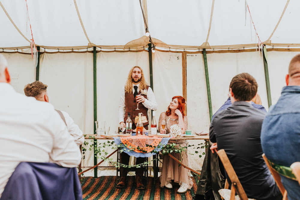 Keeper and The Dell Boho Farm Field Marquee DIY Alternative Rustic Bride Groom Speech Pink Sequin Dress Brown Suit | Relaxed Outdoor Wedding with 1000 Rainbow Origami Cranes Dan Biggins Photography