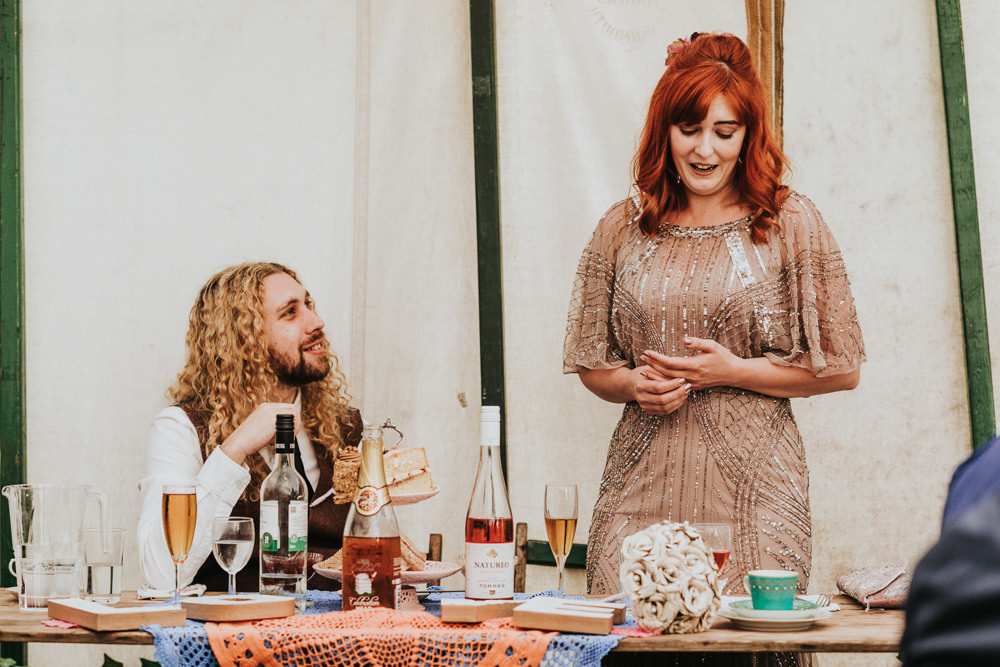 Keeper and The Dell Boho Farm Field Marquee DIY Alternative Rustic Bride Groom Pink Sequin Dress Brown Suit Speeches | Relaxed Outdoor Wedding with 1000 Rainbow Origami Cranes Dan Biggins Photography