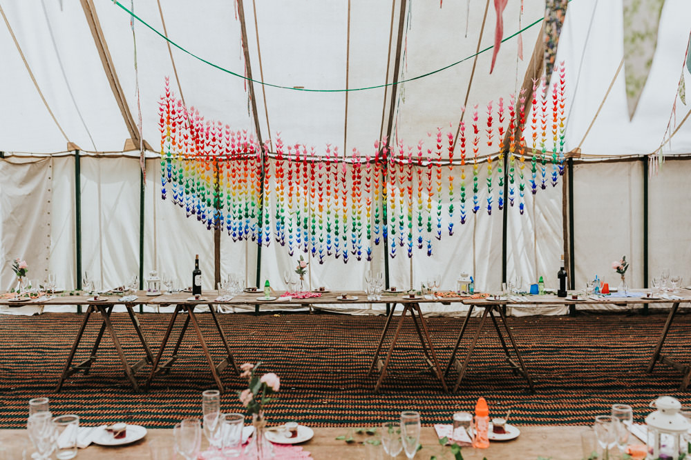 Keeper and The Dell Boho Farm Field Marquee DIY Alternative Rustic Rainbow Origami Cranes Hanging | Relaxed Outdoor Wedding with 1000 Rainbow Origami Cranes Dan Biggins Photography