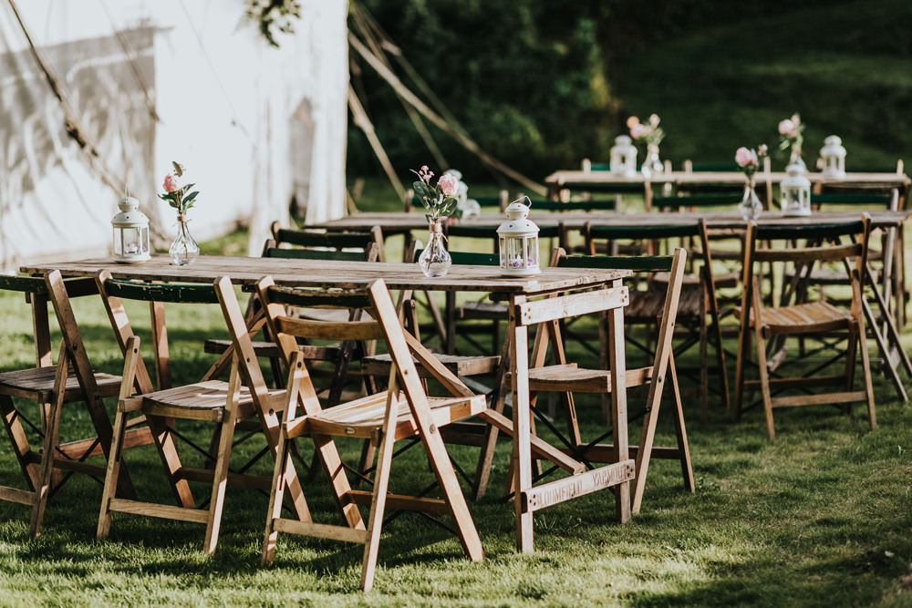 Keeper and The Dell Boho Farm Field Marquee DIY Alternative Outdoor Tables | Relaxed Outdoor Wedding with 1000 Rainbow Origami Cranes Dan Biggins Photography