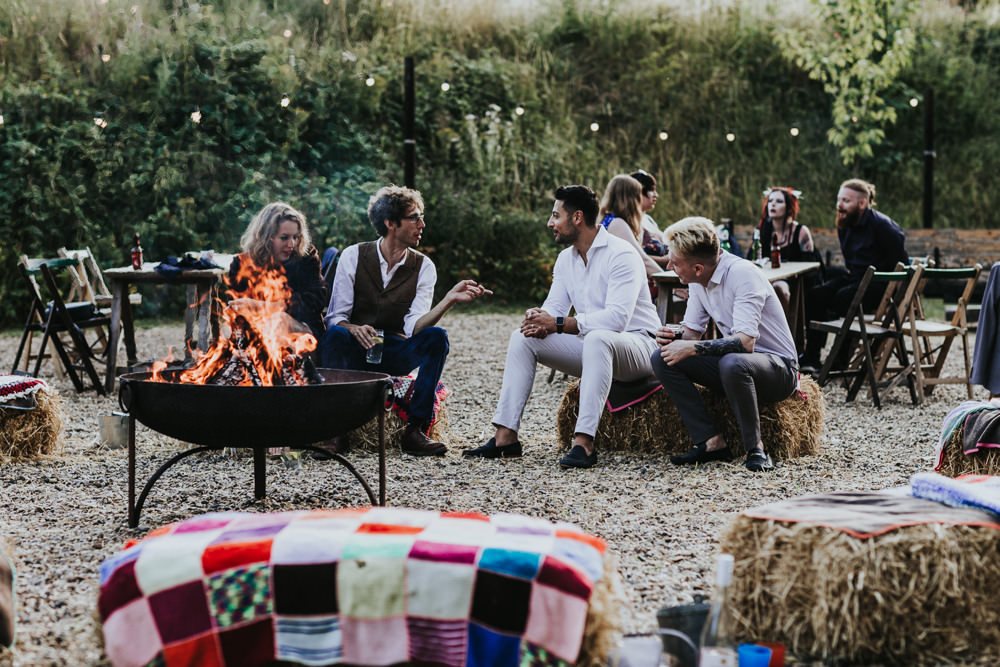 Keeper and The Dell Boho Farm Field Marquee DIY Alternative Rustic Hay Bales Fire Pits | Relaxed Outdoor Wedding with 1000 Rainbow Origami Cranes Dan Biggins Photography