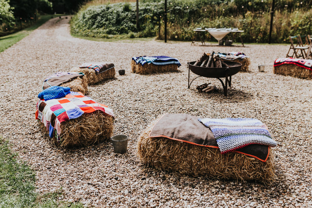Keeper and The Dell Boho Farm Field Marquee DIY Alternative Rustic Hay Bales Fire Pit Blankets | Relaxed Outdoor Wedding with 1000 Rainbow Origami Cranes Dan Biggins Photography