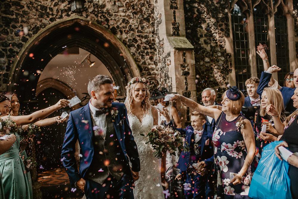Confetti Throw Norwich Cathedral Wedding Camilla Andrea Photography