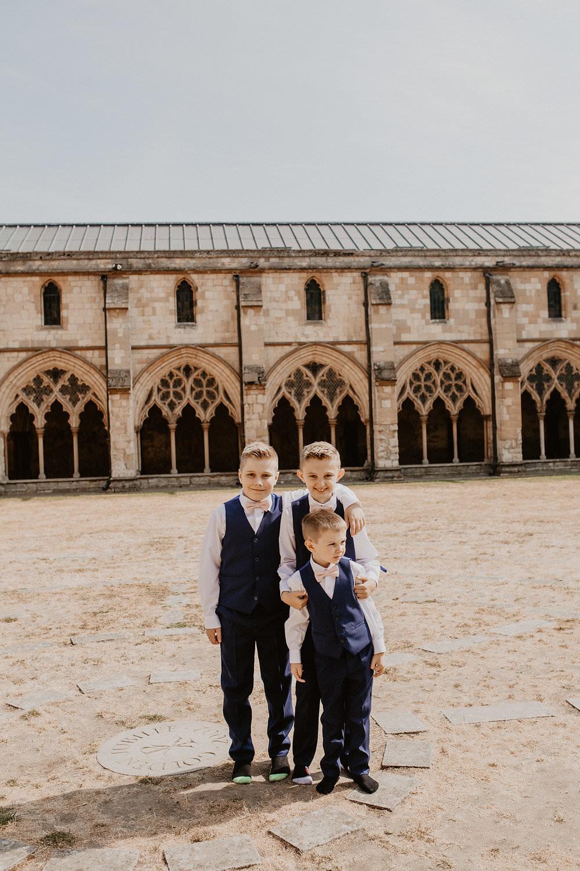 Page Boys Waistcoats Bow Ties Norwich Cathedral Wedding Camilla Andrea Photography