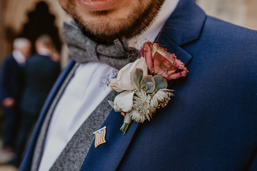 Groom Groomsmen Suits Navy Blue Grey Tweed Waistcoat Bow Tie Buttonhole Flowers Norwich Cathedral Wedding Camilla Andrea Photography
