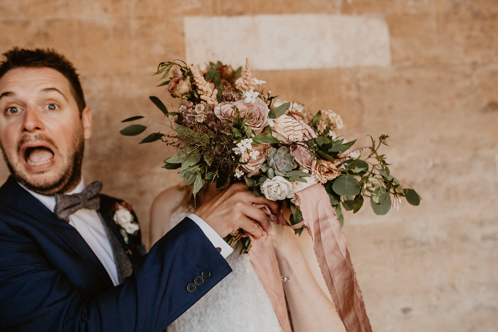 Bouquets Flowers Dusky Pink Greenery Roses SIlk Ribbons Fern Succulent Norwich Cathedral Wedding Camilla Andrea Photography