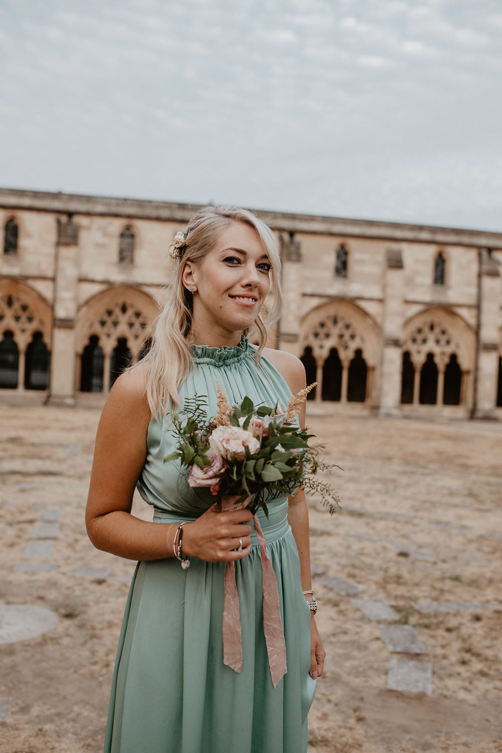 Pale Sage Green High Neck Maxi Long Dresses Bridesmaids Norwich Cathedral Wedding Camilla Andrea Photography