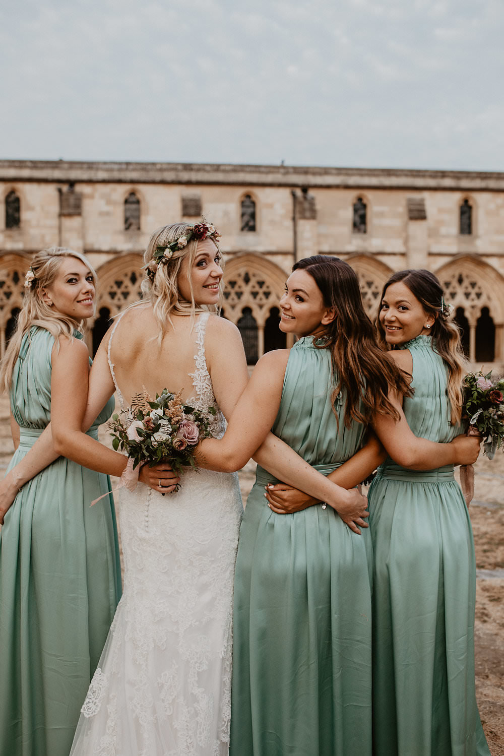 Pale Sage Green High Neck Maxi Long Dresses Bridesmaids Back Bride Squad Norwich Cathedral Wedding Camilla Andrea Photography