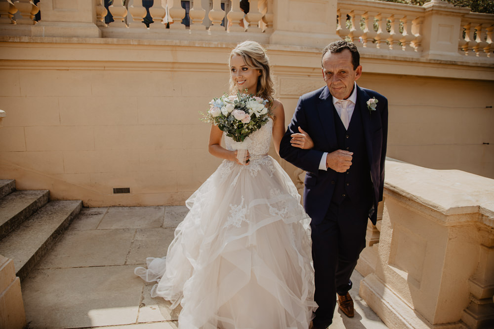 Osborne House Isle of Wight Natural Classic Bride Blush Pastel Bouquets Stella York Dress Father Ceremony | Timeless Royal Inspired Seaside Wedding Holly Cade Photography