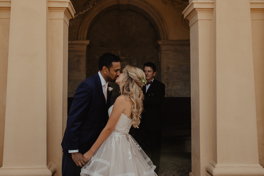 Osborne House Isle of Wight Natural Classic Bride Blush Pastel Bouquets Stella York Dress Groom Outdoor Ceremony Kiss | Timeless Royal Inspired Seaside Wedding Holly Cade Photography