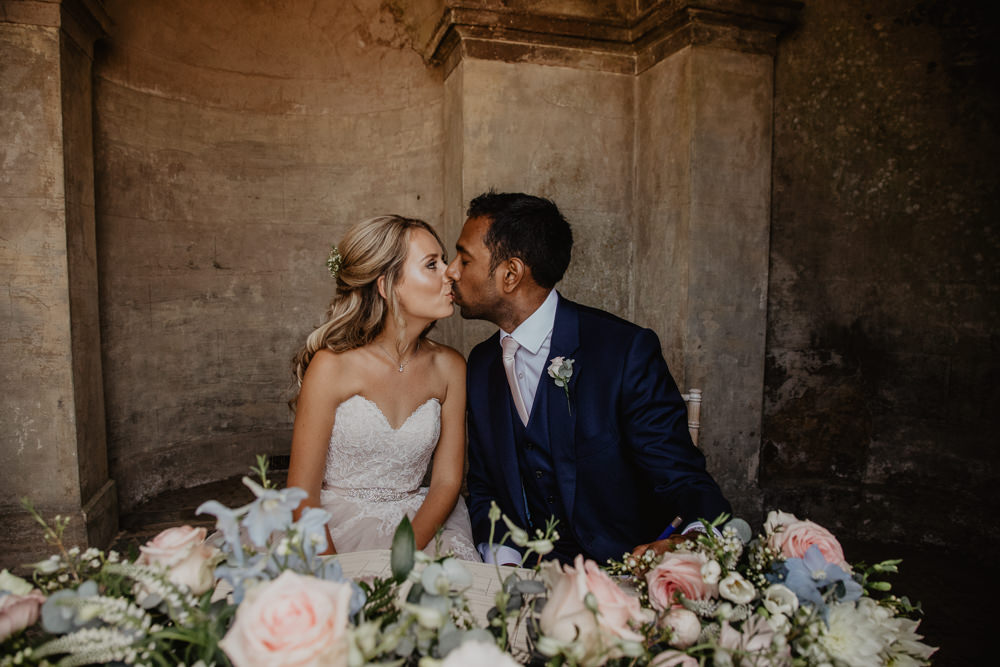 Osborne House Isle of Wight Natural Classic Bride Blush Pastel Bouquets Stella York Dress Groom Outdoor Ceremony Signing Kiss | Timeless Royal Inspired Seaside Wedding Holly Cade Photography