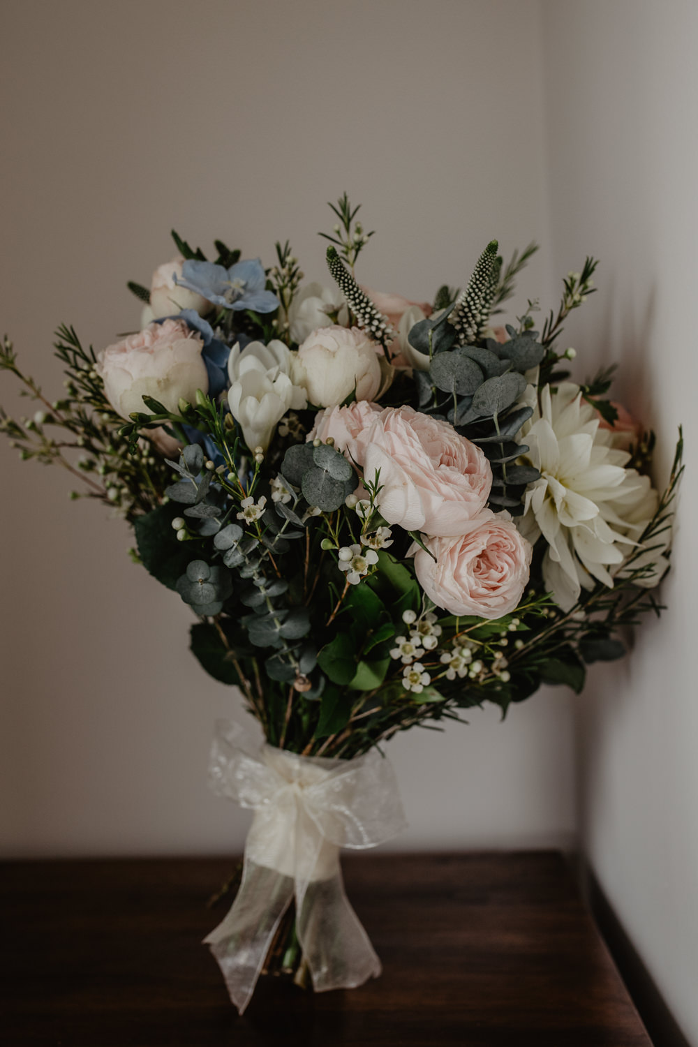 Osborne House Isle of Wight Natural Classic Bride Bouquet Pastel Pink Blue White Eucalyptus | Timeless Royal Inspired Seaside Wedding Holly Cade Photography