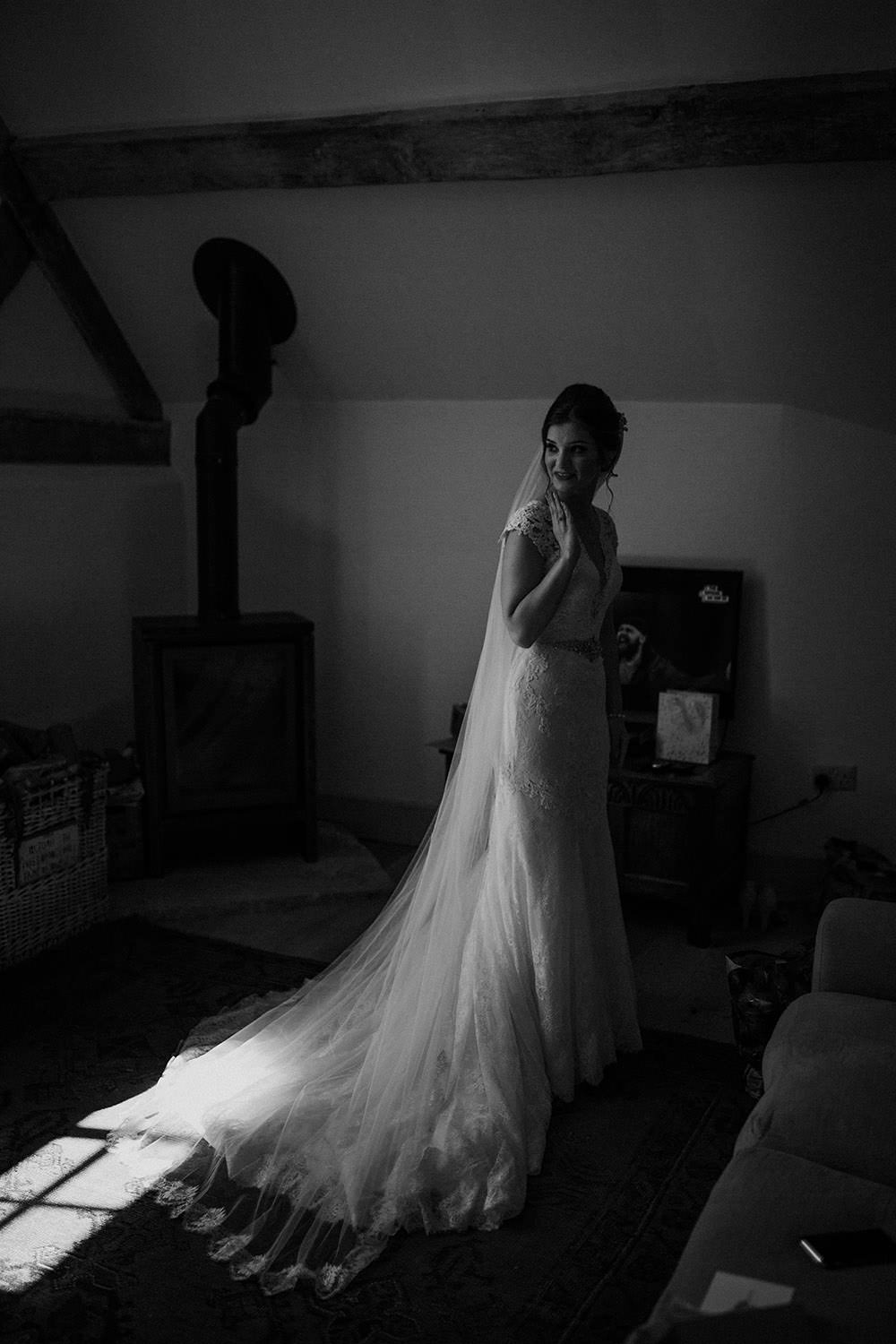 Dress Gown Bride Bridal Lace Illusion Back Buttons Sleeves Train Lillian West Veil Pimhill Barn Wedding Shrophire Leah Lombardi Photography
