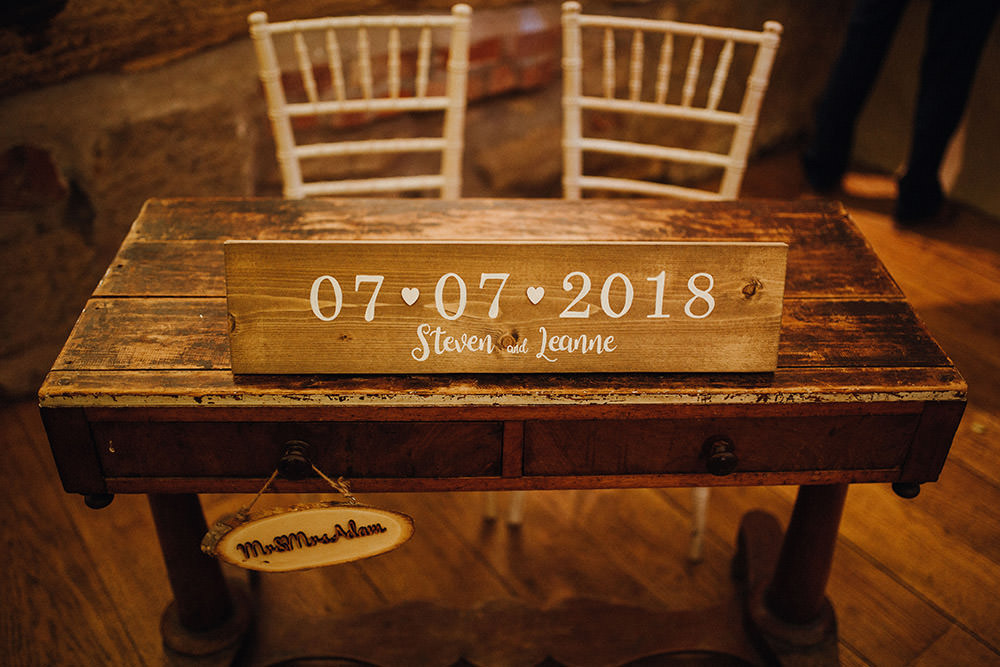 Wooden Sign Date Table Pimhill Barn Wedding Shrophire Leah Lombardi Photography