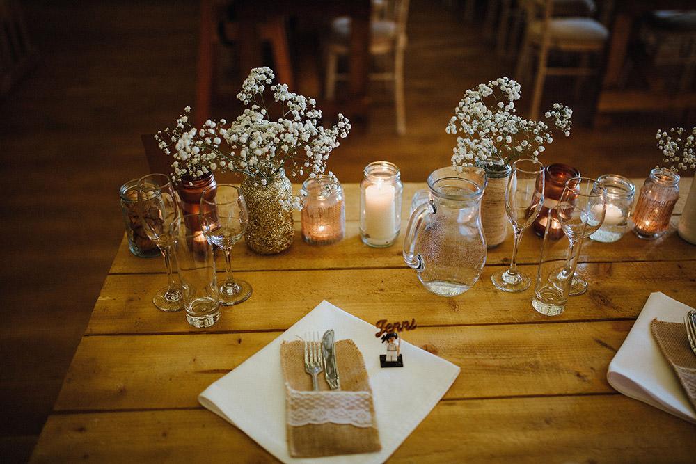 Glitter Jars Copper Metallic Candles Gyp Gypsophila Flowers Tables Pimhill Barn Wedding Shrophire Leah Lombardi Photography