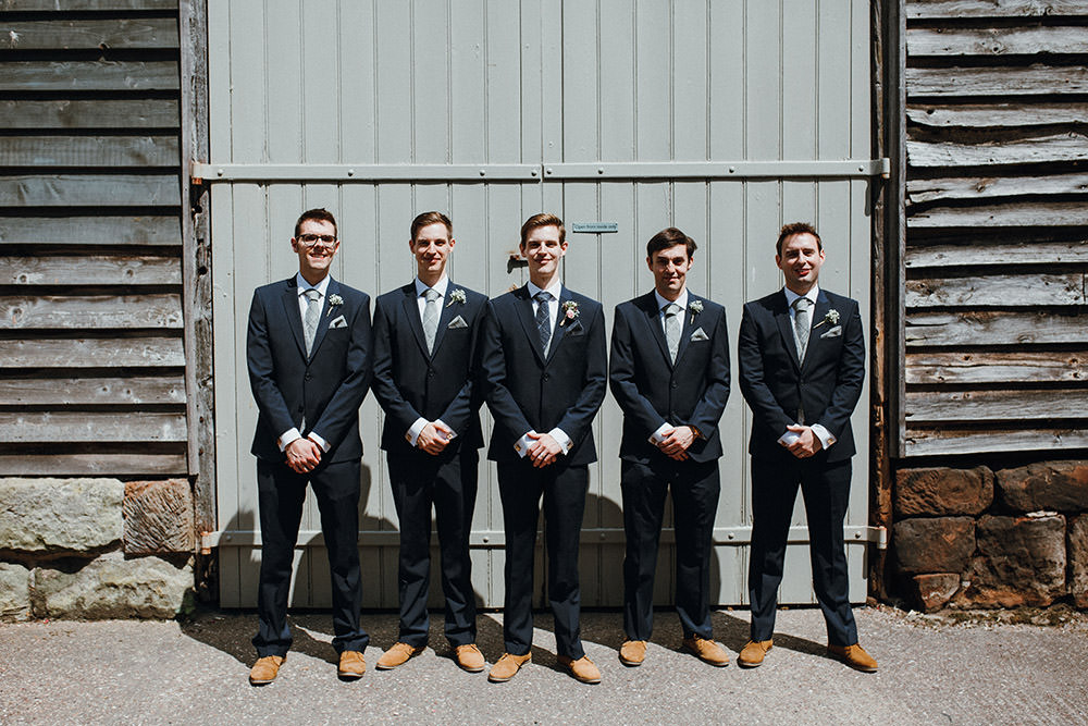 Groom Groomsmen Suits Tan Shoes Blue Tweed Ties Pimhill Barn Wedding Shrophire Leah Lombardi Photography