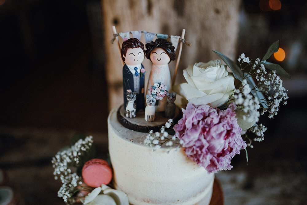 Wooden Cake Topper Bunting Figures Pimhill Barn Wedding Shrophire Leah Lombardi Photography