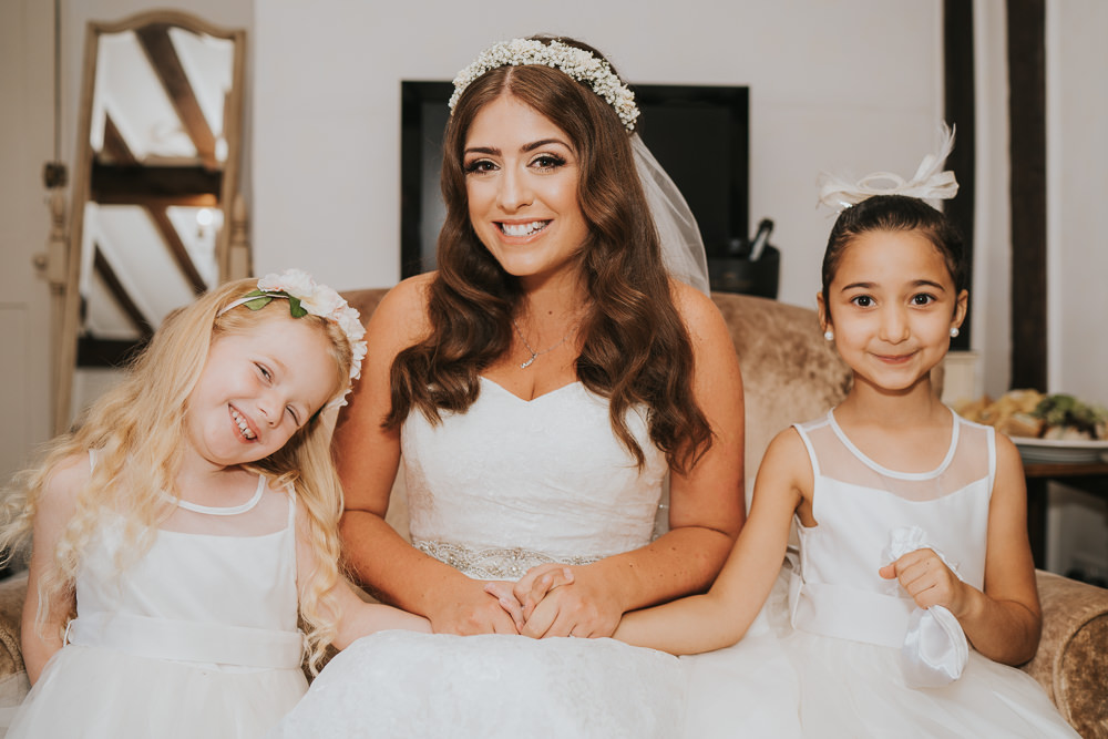 Outdoor Natural Relaxed Laid Back Summer White Dress Bridal Morning Prep Gypsophila Crown Flower Girls | Prested Hall Wedding Grace Elizabeth Photography