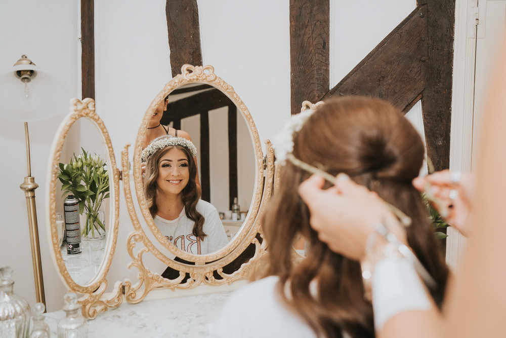 Outdoor Natural Relaxed Laid Back Summer White Dress Bridal Shoes Morning Bride Prep Gypsophila Crown | Prested Hall Wedding Grace Elizabeth Photography