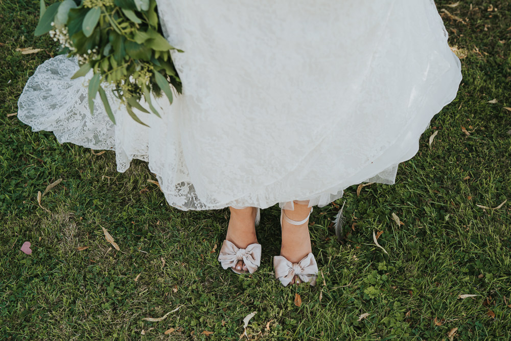 Intimate Outdoor Natural Relaxed Laid Back Summer Bride Velvet Shoes Greenery Foliage Bouquet | Prested Hall Wedding Grace Elizabeth Photography