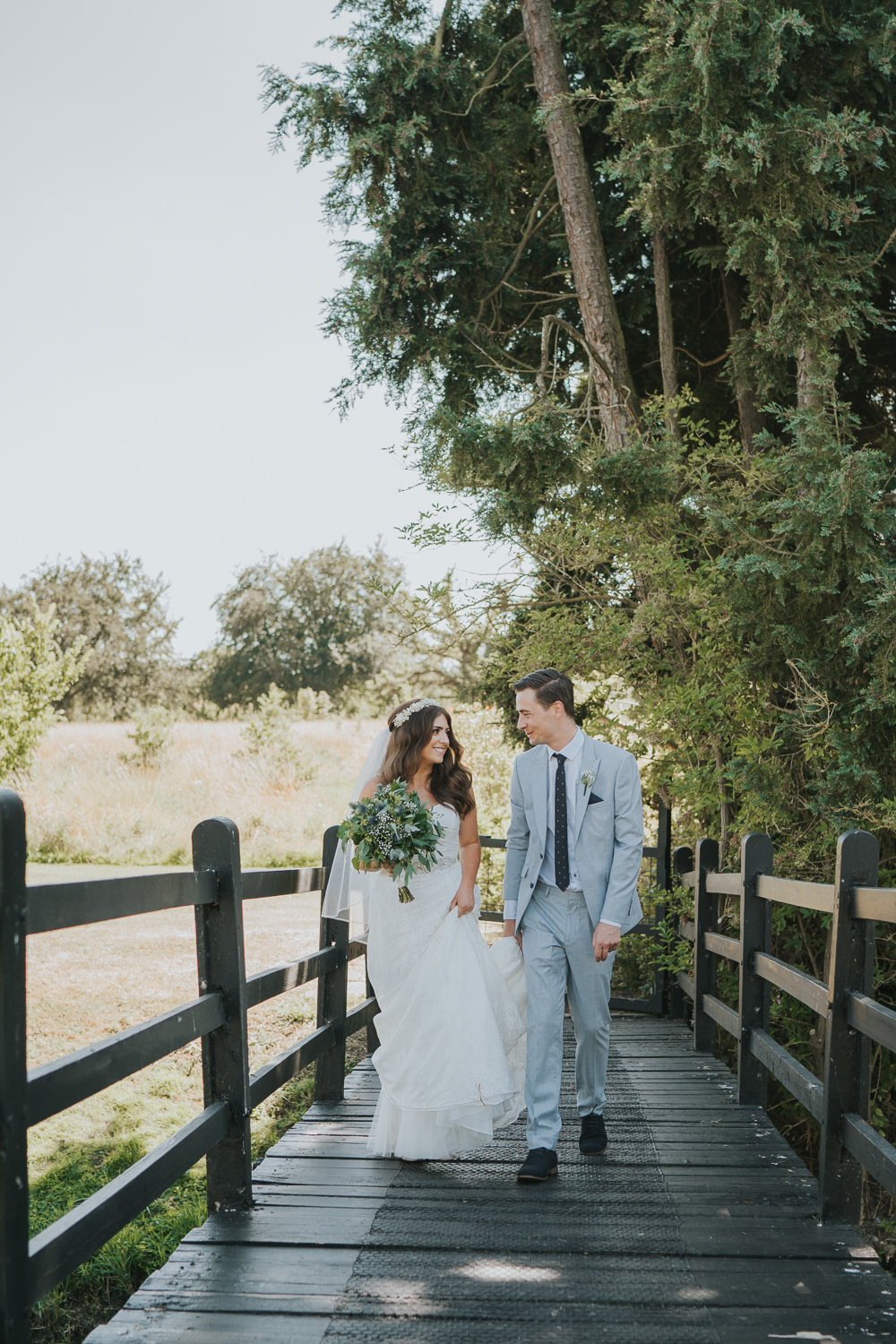 Intimate Outdoor Natural Relaxed Laid Back Summer Bride Groom Greenery Foliage Bouquet Gypsophila Crown | Prested Hall Wedding Grace Elizabeth Photography