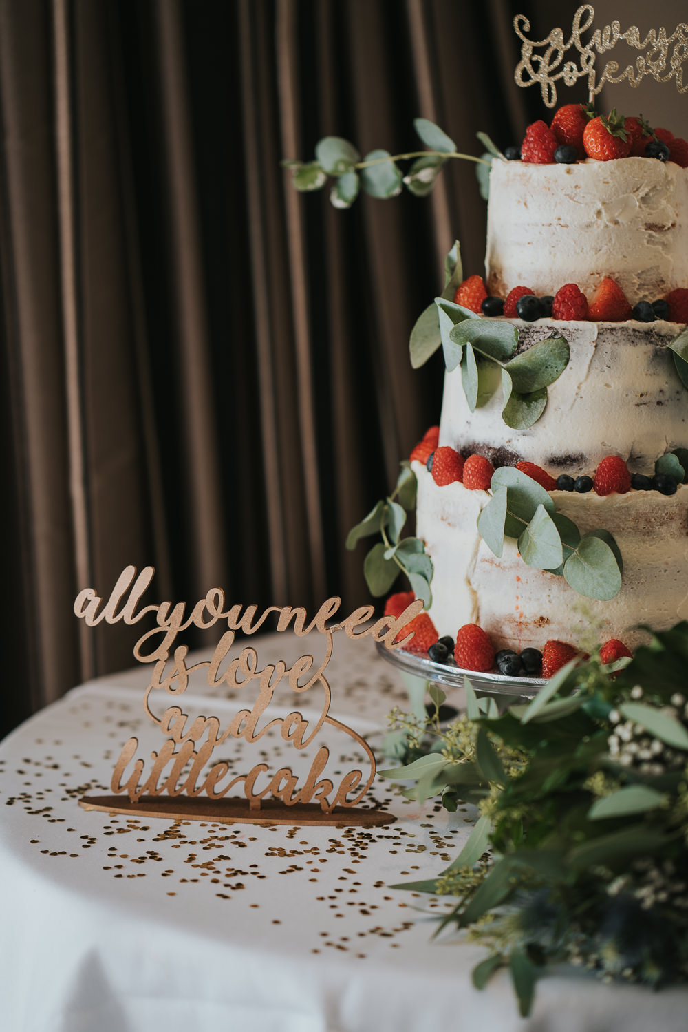 Intimate Outdoor Natural Relaxed Laid Back Summer Reception Straberries Fruit Eucalyptus Semi Naked Cake | Prested Hall Wedding Grace Elizabeth Photography