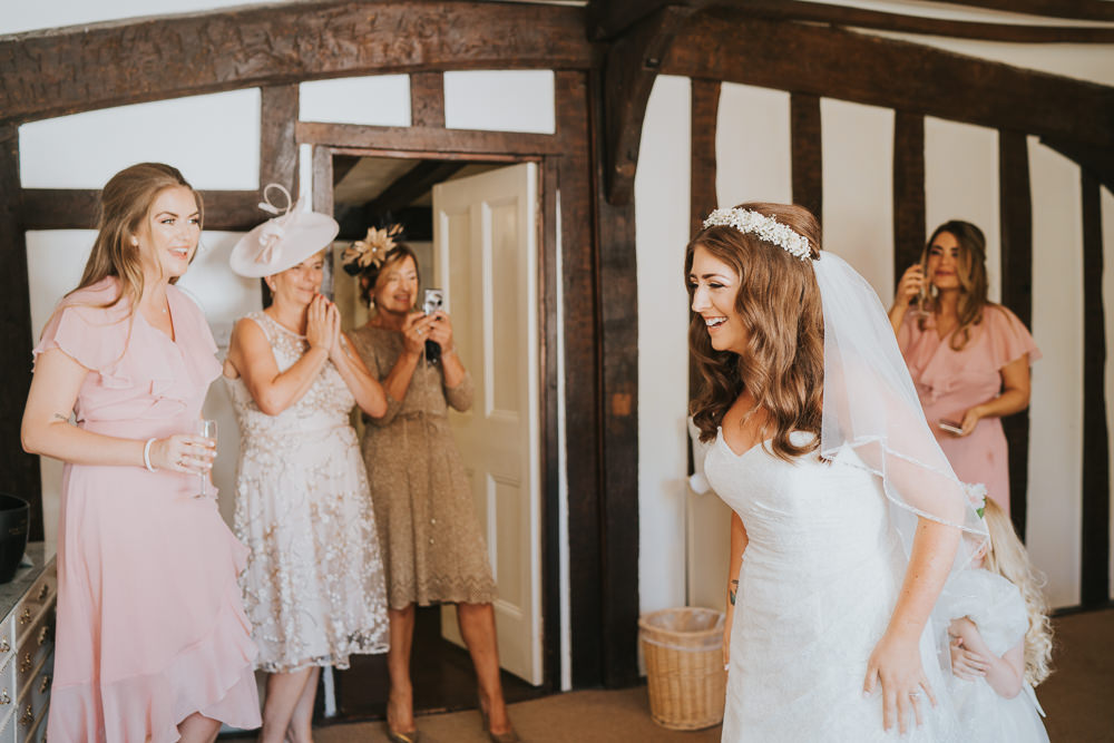 Outdoor Natural Relaxed Laid Back Summer White Bridal Morning Prep Gypsophila Crown Sweetheart Dress First Look | Prested Hall Wedding Grace Elizabeth Photography