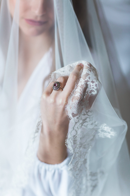 Modern Ballet Inspired Fine Art Editorial Somerley House Morning Bridal Prep Veil Amethyst Ring | Romantic Soft Wedding Ideas Siobhan H Photography