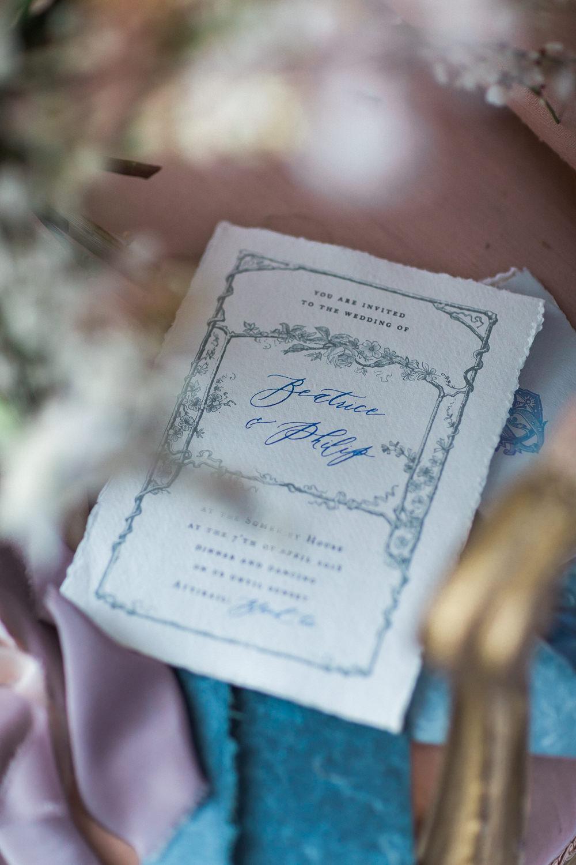 Modern Dance Ballet Inspired Fine Art Editorial Somerley House Grey Blue Illustration Stationery Lilac Silk Ribbon | Romantic Soft Wedding Ideas Siobhan H Photography