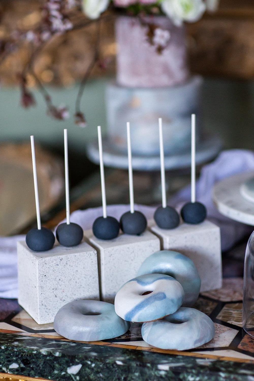 Modern Dance Ballet Inspired Fine Art Editorial Somerley House Cakes Dessert Table Kate Burt Cake Pops Marble Doughnuts | Romantic Soft Wedding Ideas Siobhan H Photography