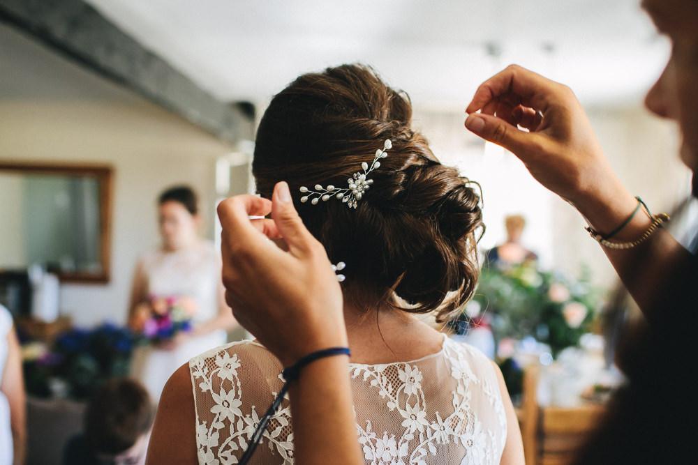 Bride Bridal Bridesmaids Lace Hair Piece Pearl Up Do Bach Wen Farm Wedding Jessica O'Shaughnessy Photography