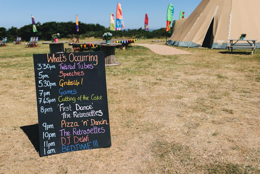 Multicolour Chalk Board Timings Festival Bach Wen Farm Wedding Jessica O'Shaughnessy Photography