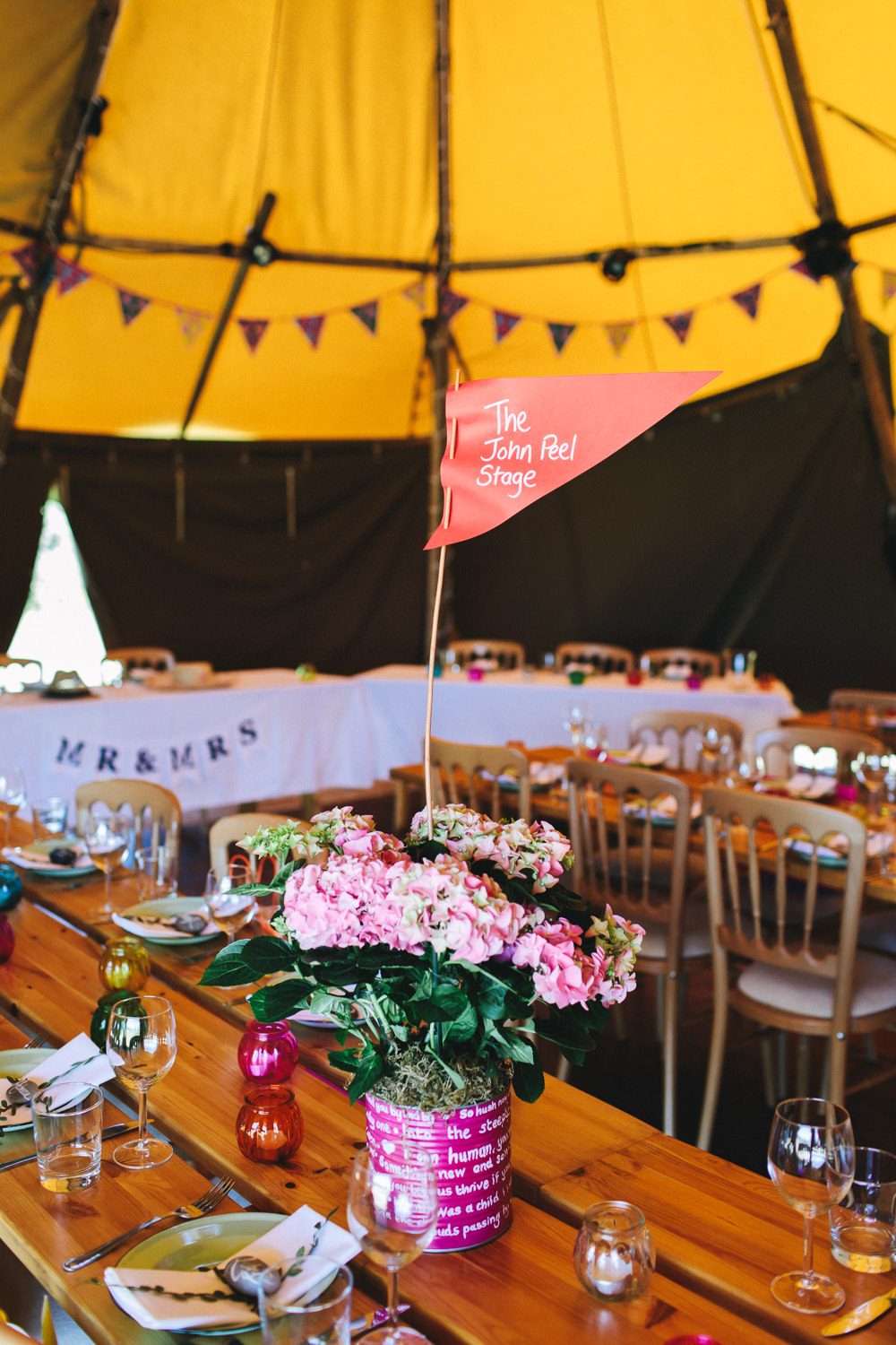 Table Name Festival Flag Tipi Flowers Floral Painted Tin Bach Wen Farm Wedding Jessica O'Shaughnessy Photography