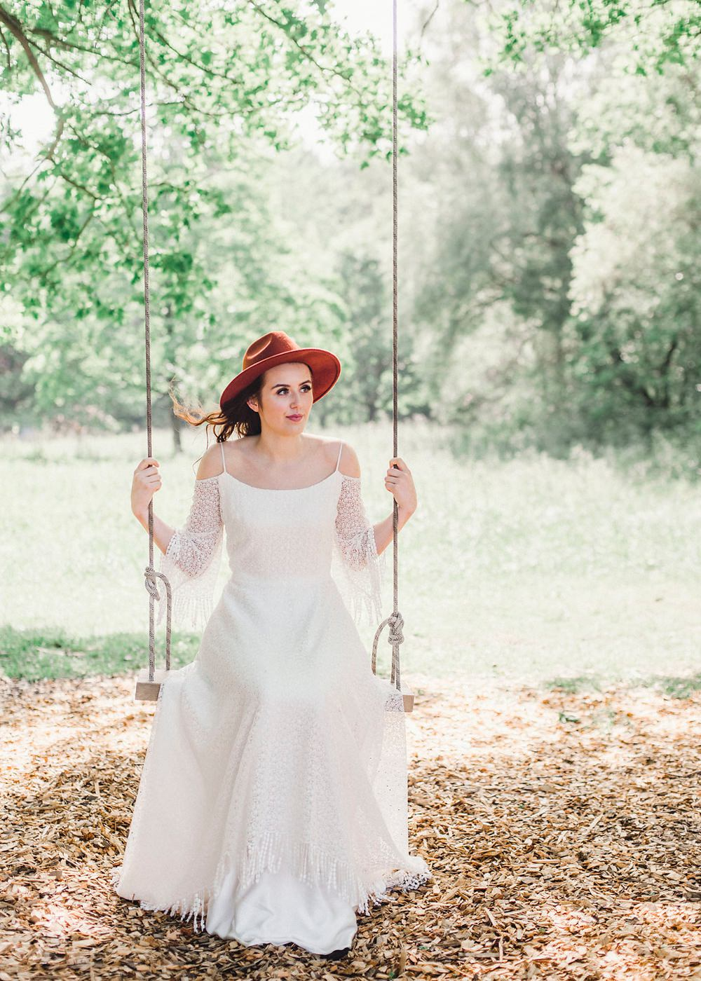 Bride Bridal Fedora Hat Style Accessory Swing Boho Woodland Wedding Ideas Camp Katur Emily Olivia Photography