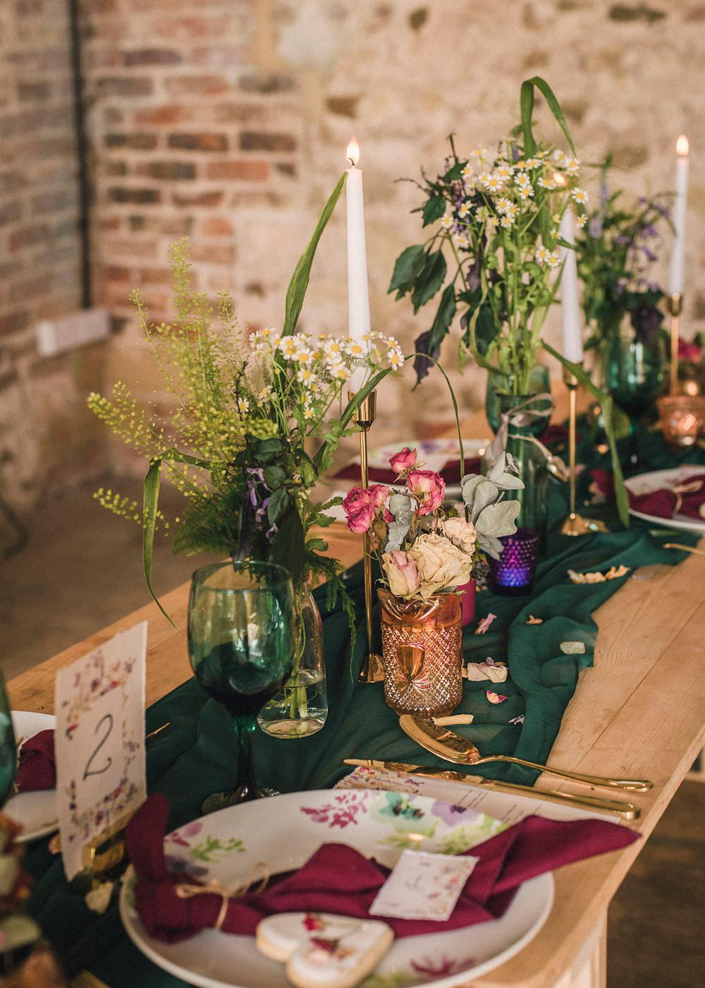 Tablescape Green Runner Fabric Candles Flowers Stationery Decor Boho Woodland Wedding Ideas Camp Katur Emily Olivia Photography
