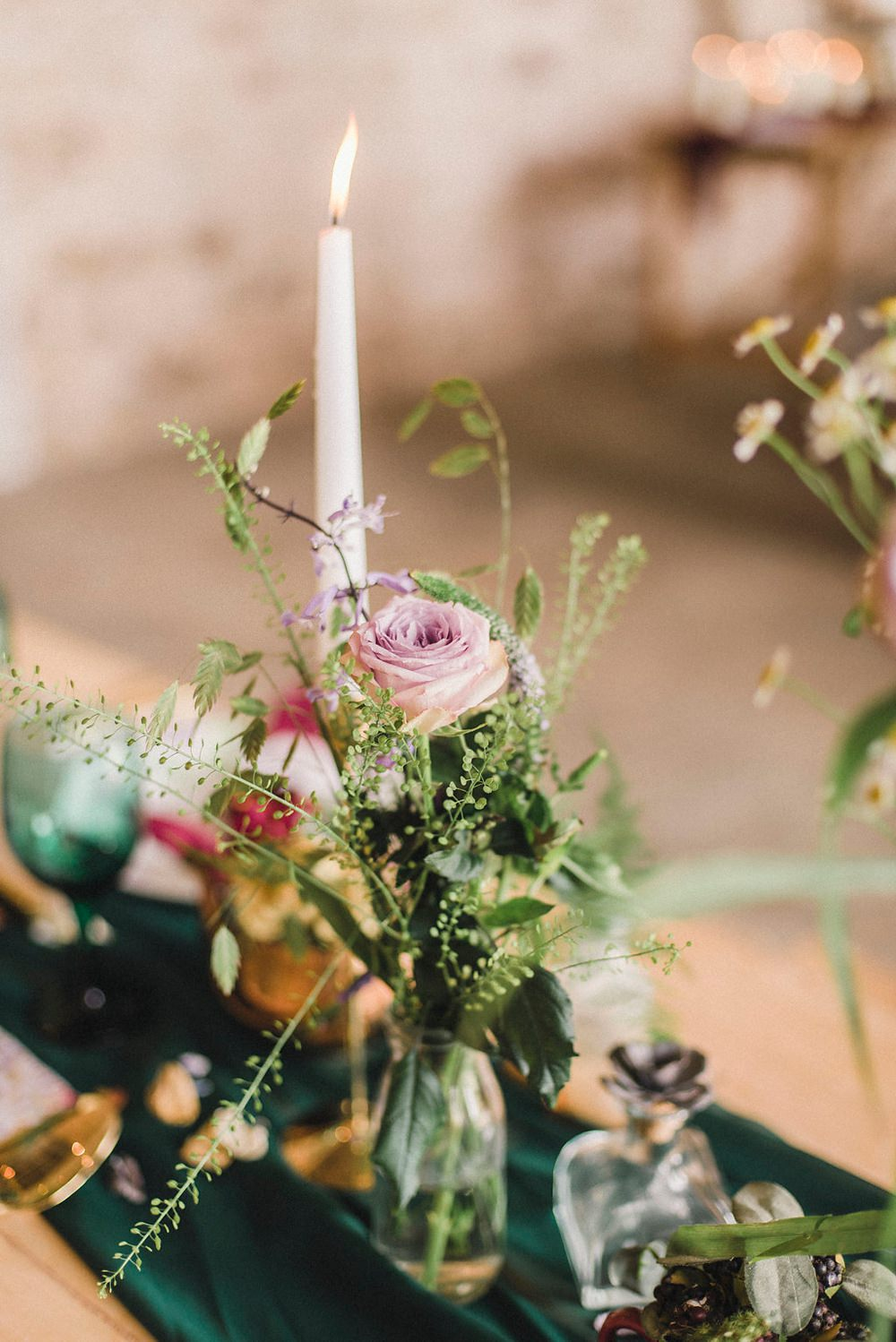 Table Flowers Candle Lilac Rose Boho Woodland Wedding Ideas Camp Katur Emily Olivia Photography