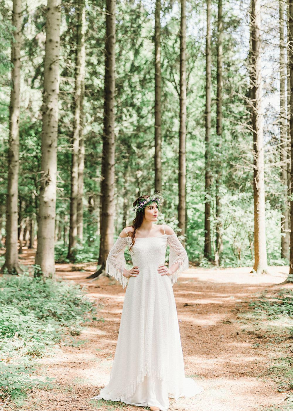 Bride Bridal Gown Dress Fringed Tassel Bohemian Sleeves Train Boho Woodland Wedding Ideas Camp Katur Emily Olivia Photography