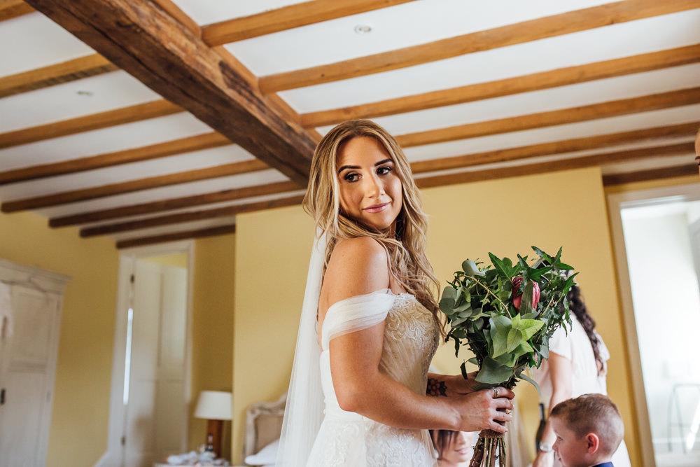 Bride Bridal Wedding Dress Off Shoulder Strapless Veil Celestial Country Wedding Florence Fox Photography