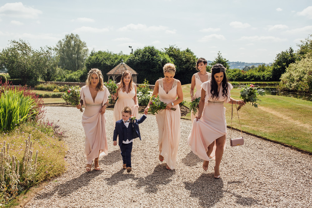 Pink Blush Mismatched Bridesmaids Page Boy Celestial Country Wedding Florence Fox Photography