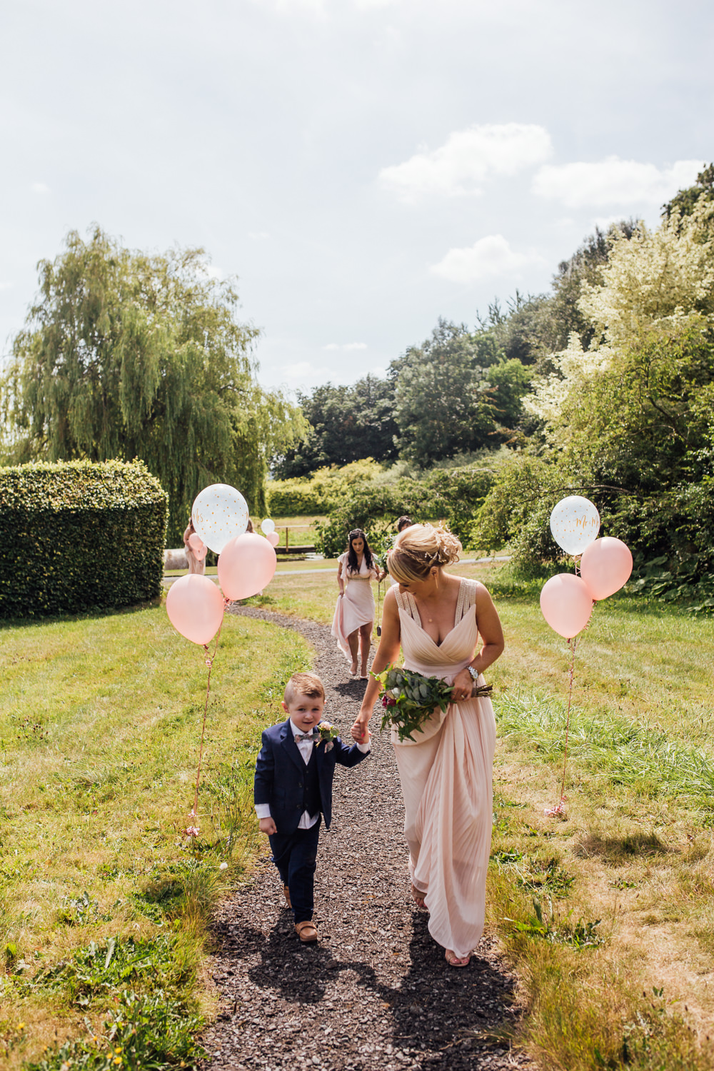 Pink Blush Bridesmaids Balloons Page Boy Celestial Country Wedding Florence Fox Photography