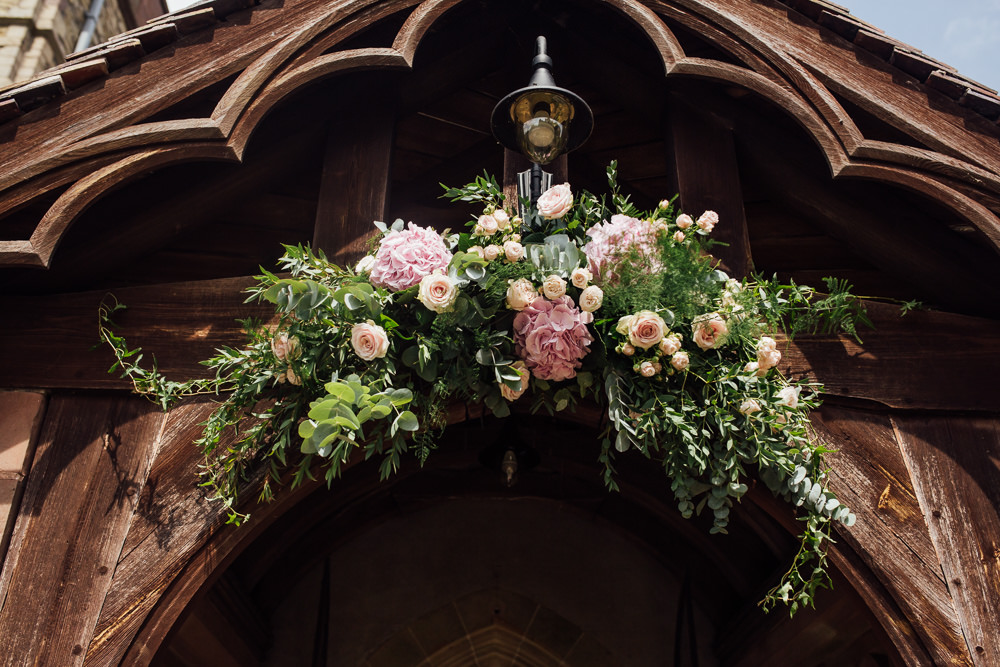 Flowers Floral Lychgate Archway Arrangement Pink Celestial Country Wedding Florence Fox Photography