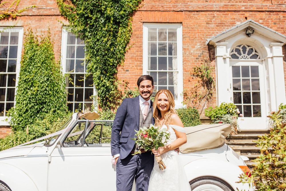 Bride Bridal Dress Overlay Veil Lace Strapless Off Shoulder Groom Three Piece Tweed Waistcoat Pink Tie Transport VW Beetle Celestial Country Wedding Florence Fox Photography
