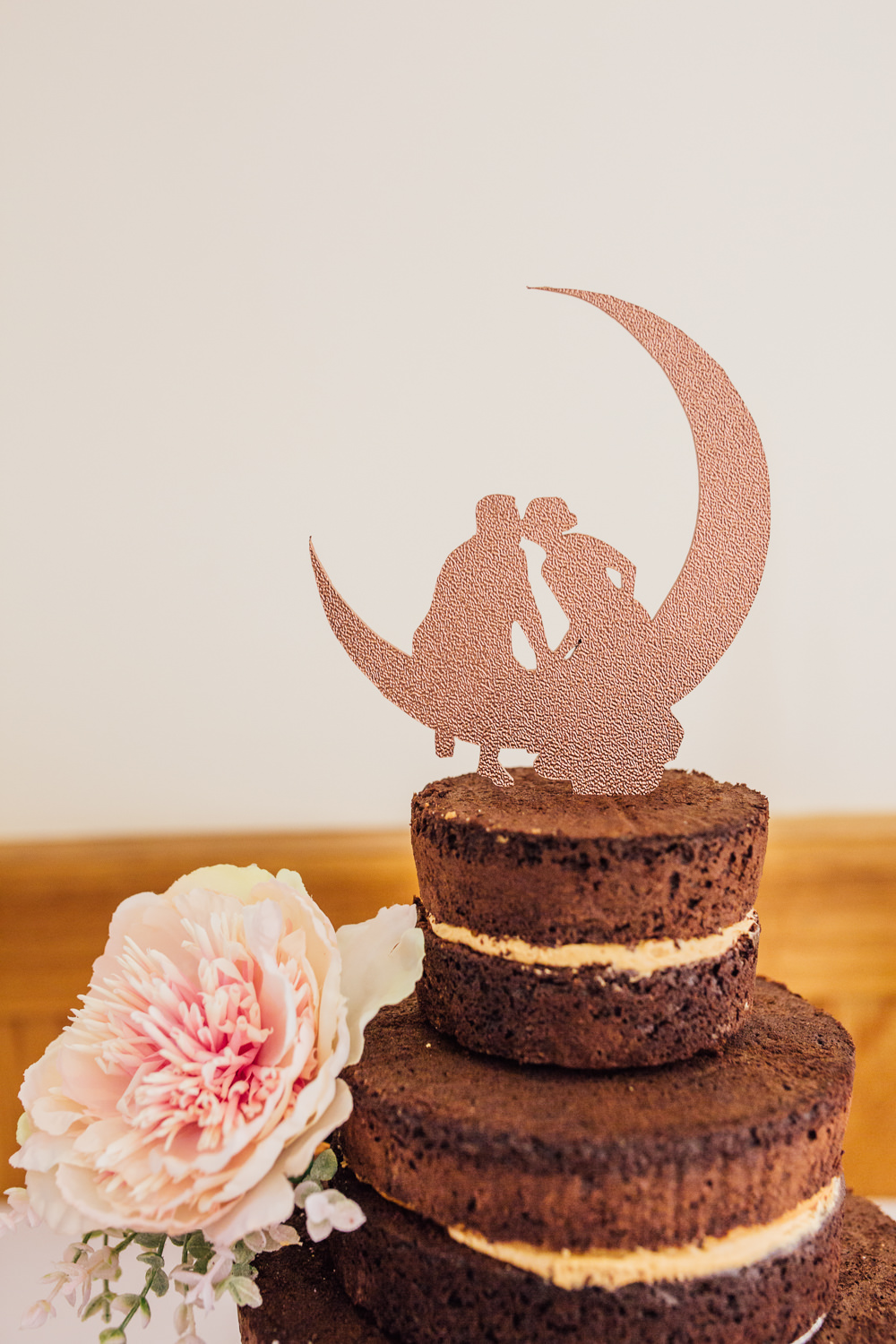 Chocolate Fudge Cake Tiered Moon Cut Out Topper Pink Peony Celestial Country Wedding Florence Fox Photography
