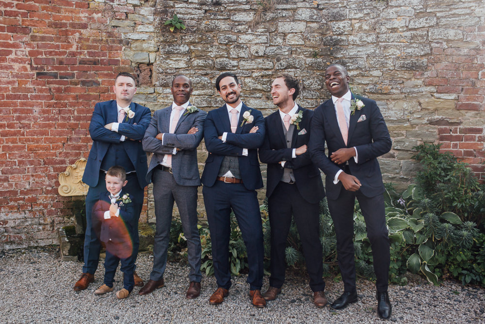 Mismatched Groomsmen Navy Blue Suits Page Boy Celestial Country Wedding Florence Fox Photography
