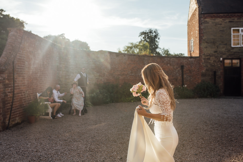 Bride Bridal Separates Skirt Top Lace Fishtail Sleeves Celestial Country Wedding Florence Fox Photography