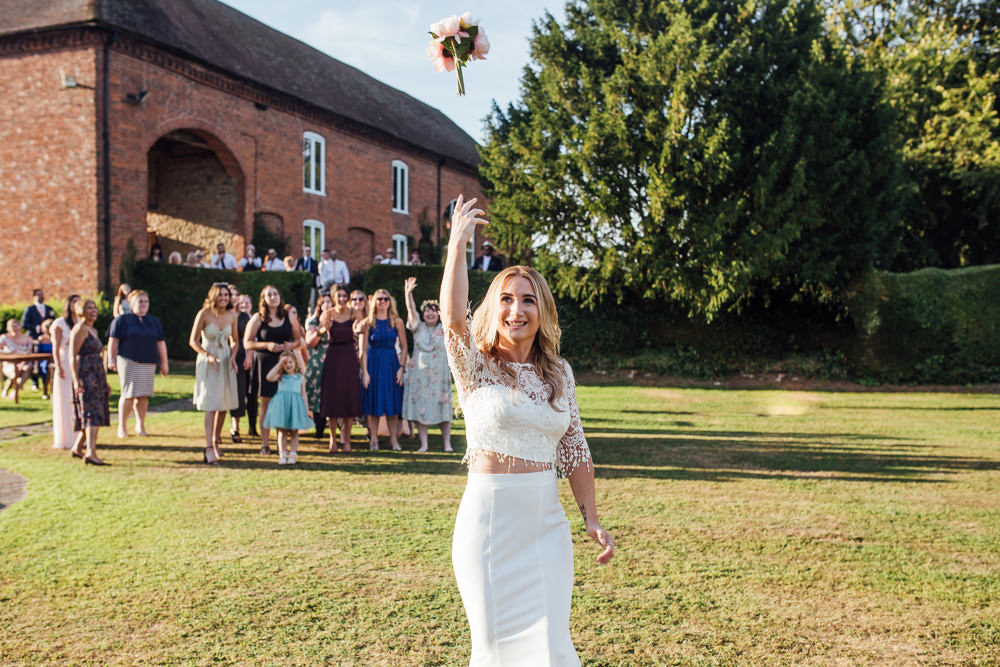 Bride Bridal Separates Skirt Top Lace Fishtail Sleeves Overlay Bouquet Toss Celestial Country Wedding Florence Fox Photography
